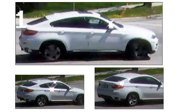 Collage of three images of a white BMW X6 4 door vehicle