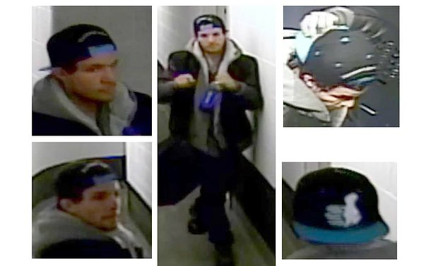Several video images of a man in a hallway, close ups of face and baseball cap with thumbs up