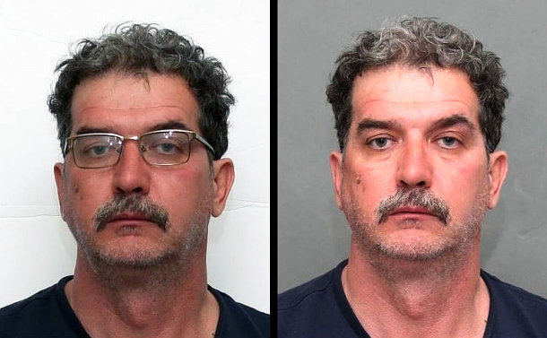 Two photos, side by side, of the same man. One photo has the man wearing glasses.