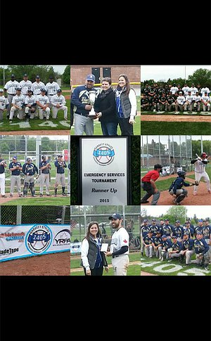Group of photos of people playing baseball and in groups
