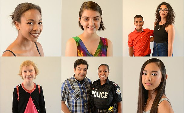 Six photos of seven people, most teens, one with a man and a woman in TPS uniform