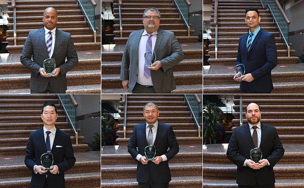 Six photos of men holding a glass award