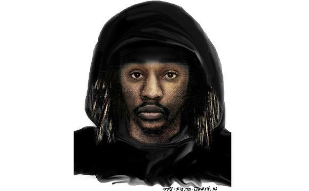 A drawing of a man in a black hood against a white background