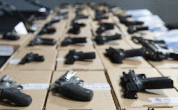 Handguns on a table