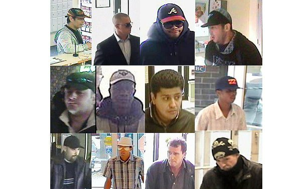 A dozen images of men in various disguises aligned in three layers of four across the picture