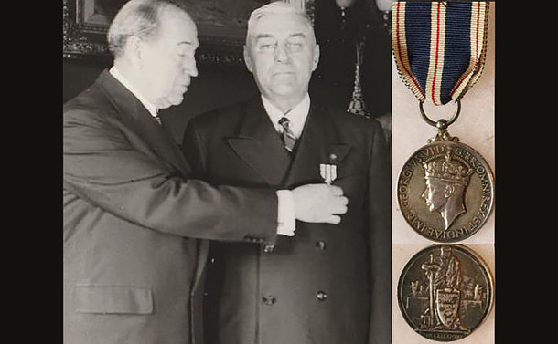 A man pinning a medal to another man's chest. A medal in a separate photo