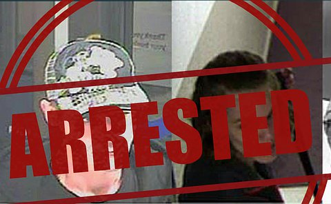 Separate photos of a man and a woman with the word arrested overtop