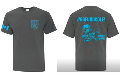 Front and back image of a t-shirt with ETF logo, canadian flag, #gofundcole hashtag, and a drawing of a Rambo Smurf