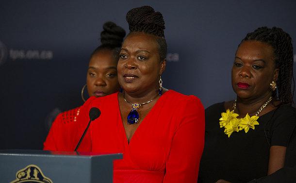 A woman at a podium
