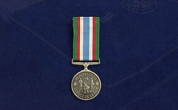 A medal on a ribbon