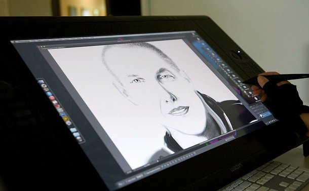 A sketch of a man on a monitor