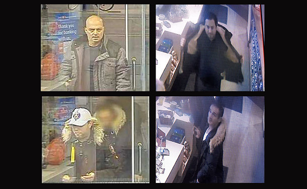 Four close ups of men from security camera