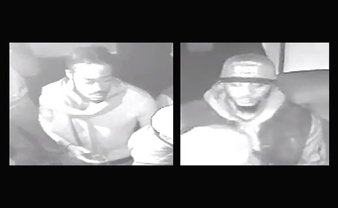 Two images of men on security video