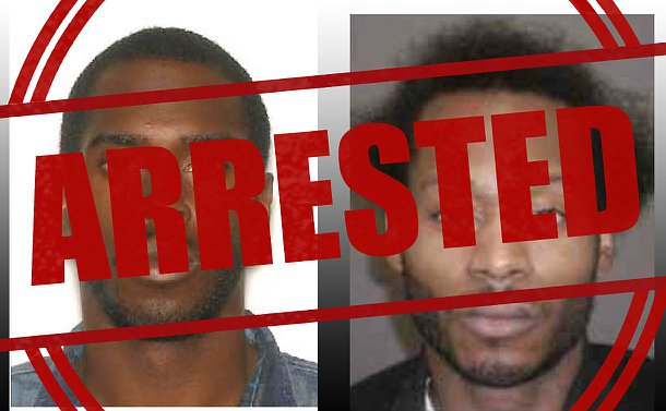 Two close up images of two men with the word arrested overtop