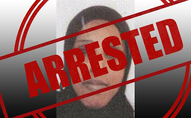 A close up of a woman with the word arrested overtop