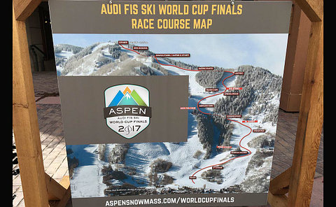 An Audi FIS World Cup sign