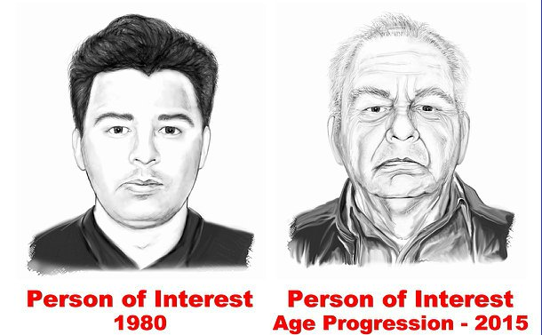 Two drawings of a younger and older man side by side