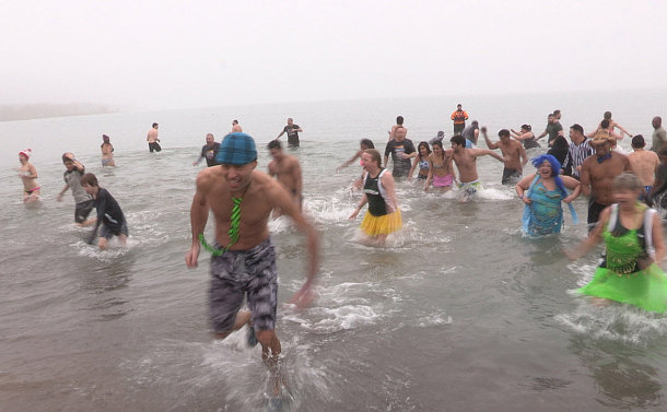 People walking in water