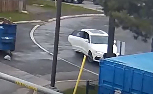 A white car on a road