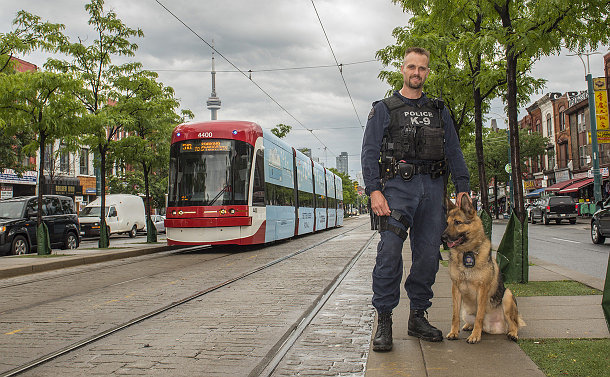 A man in TPS uniform with a dog near a streetcar