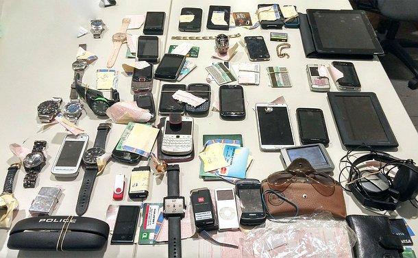 Items laid across a table