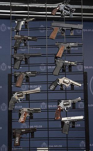 A rack of handguns