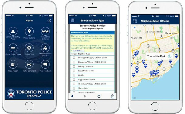 Three images of TPS App, one with a map