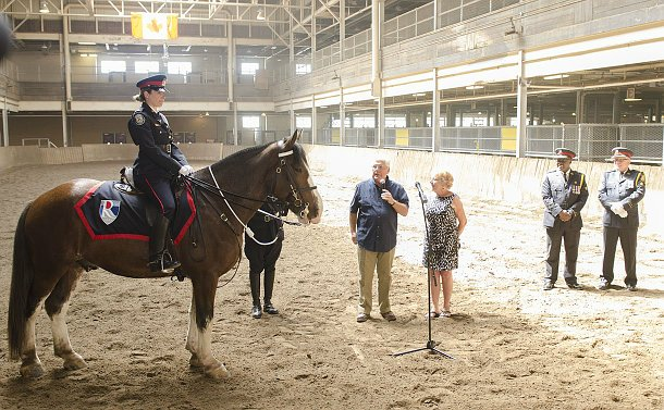 A woman in TPS uniform on horseback as two people and two TPS officers look on