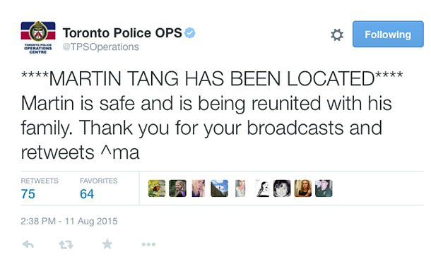 A tweet saying: Martin Tang has been located