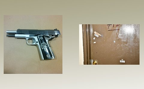 Two photos one of a handgun, the second is an image of a door with two bullet holes.