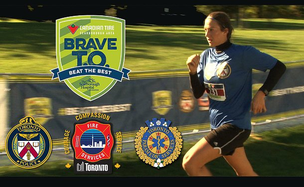 A woman running with logos of Toronto police, fire and paramedics