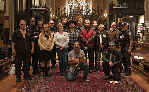 A group of people in a church