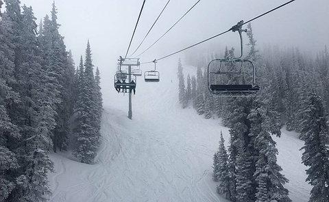 A snowy ski run