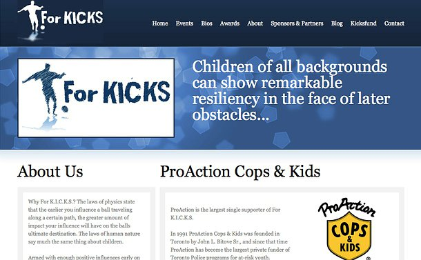 A homepage of the ForKICKS organization featuring its logo