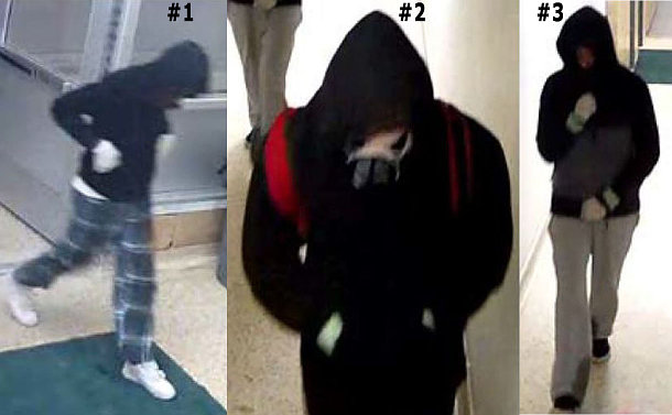 Collage of three photos depicting suspects in the homicide investigation. Suspect on the left is wearing blue plaid pyjama bottoms; suspect in the middle is wearing a two-tone grey jacket; suspect on the right is wearing a black outfit with a red backpack