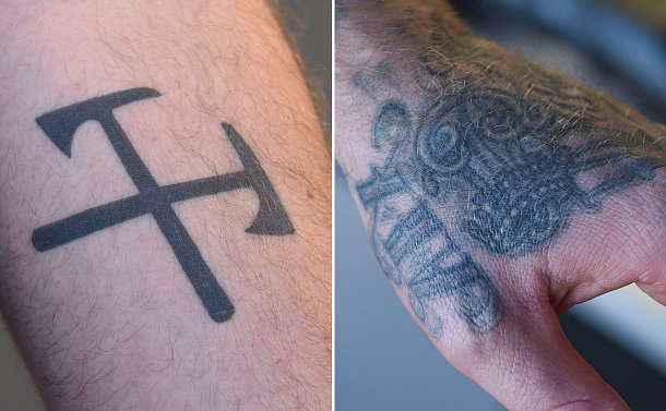Two tattoos on an arm and hand