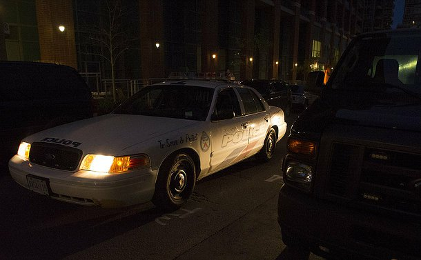 A TPS scout car in darkness