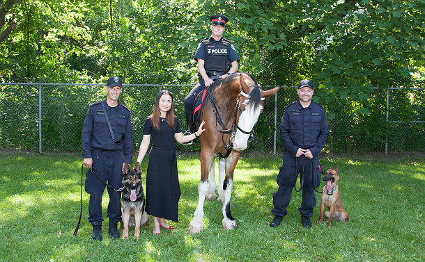 A woman with three men in TPS uniform with two dogs and a horse
