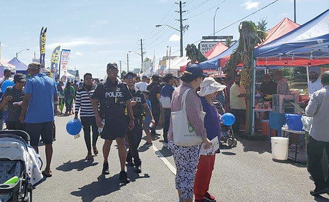 Two officers among a street festival crowd