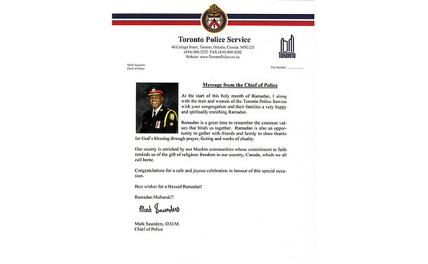A letter from Chief Mark Saunders with his picture and signature on TPS letterhead. Text in accompanying story.