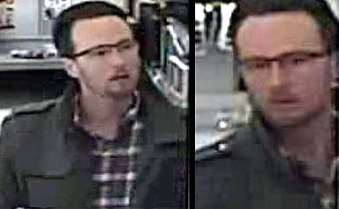 Two photos of a man wearing glasses, dark jacket and a plaid shirt