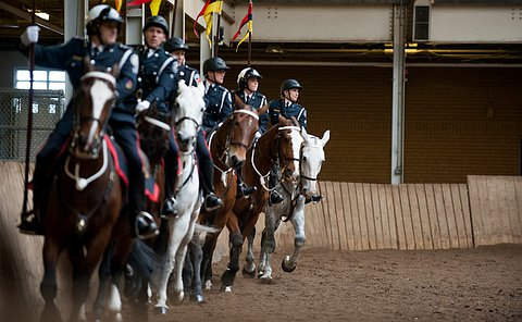 Police officers in dress and mounted unit uniforms on horses.