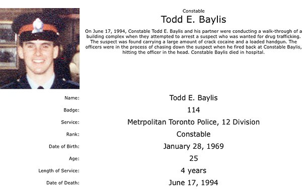 A close up photo of a man in TPS uniform accompanied by following text: Constable Todd E. Baylis