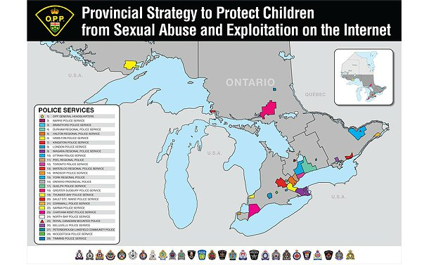 A map of Ontario highlighting areas coinciding with municipal and regional police services