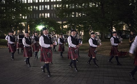Bagpipers walking