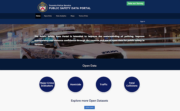 A website with tabs for open data, data analysis and maps with a photo of a TPS scout car