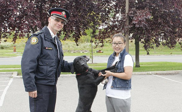 A man in TPS uniform beside a dog on it's hind legs leaning on a woman