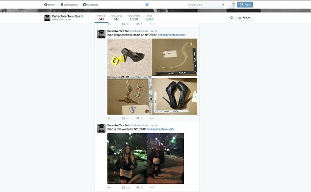 A twitter account showing photos of shoes, keys and a woman walking