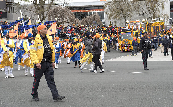 Officers leading the Khalsa Day Parade
