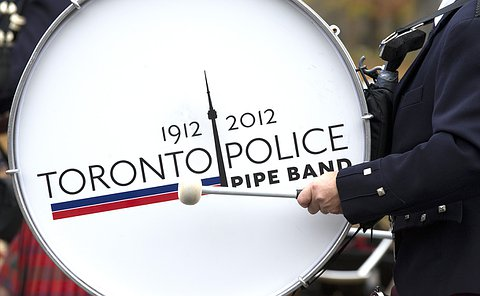 A close up of bass drum with Toronto Police Pipe Band logo